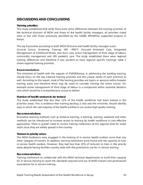 needs assessment report template kenya health workforce needs assessment report