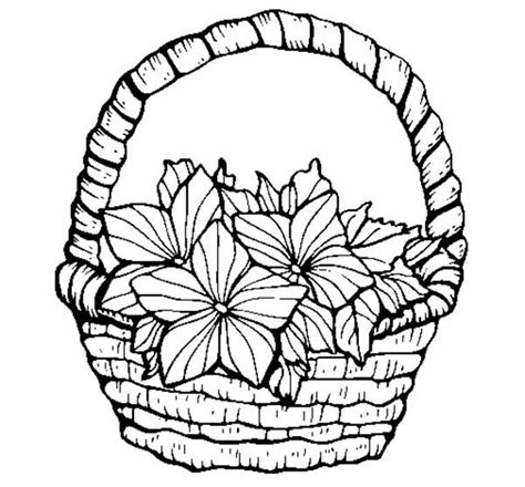 coloring pages of flower baskets lovely flowers in basket of flowers coloring pages lovely