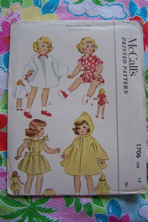 vintage 14 quot doll clothes sewing patterns original