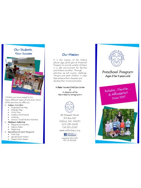 brochure template excel preschool brochure template 6 free templates in pdf