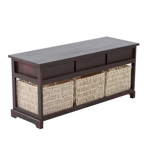 cherry wood storage bench homcom 40 3 drawer 3 basket storage bench cherry brown