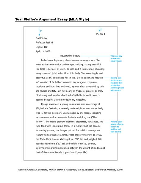 Argument Sle Essay best photos of standard mla format exle mla format