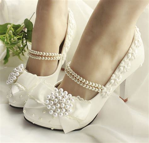 Handmade Wedding Shoes Uk - princess handmade pearl across top flat high heel