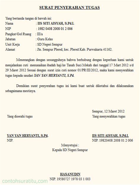 Contoh Surat Tugas Yang Benar by Contoh Surat Permohonan Cuti Haji Yang Benar