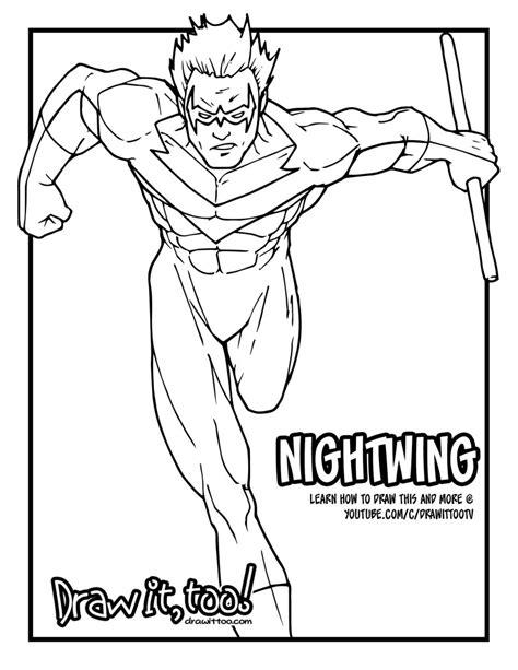 html printable version 92 nightwing coloring pages click the nightwing