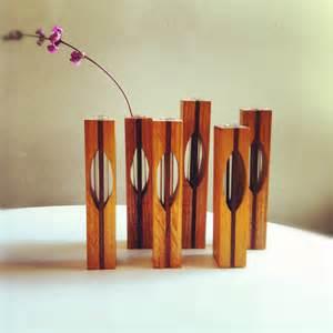 Glass Block Vases Set Of 6 Vintage Wooden Bud Vases