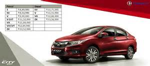 List Of Honda Cars 2017 Honda City Price List Carblogindia