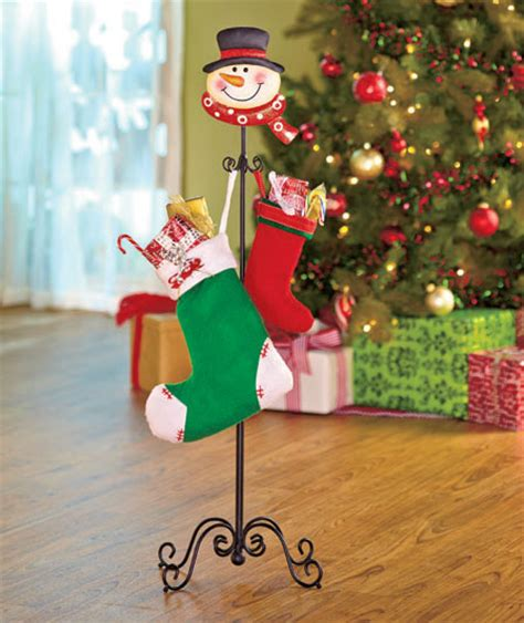 snowman floor standing holiday mini stocking holder