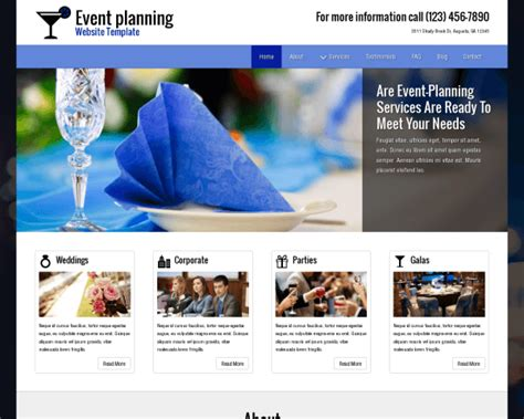 Party Planner Wordpress Theme Premium Site Template Event Website Template