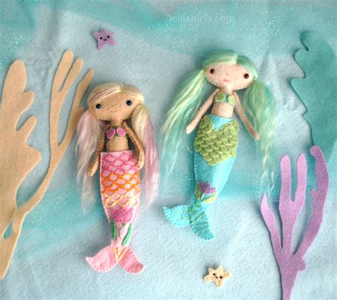 Handmade Mermaid - felt mermaid doll pattern make your own handmade dolls