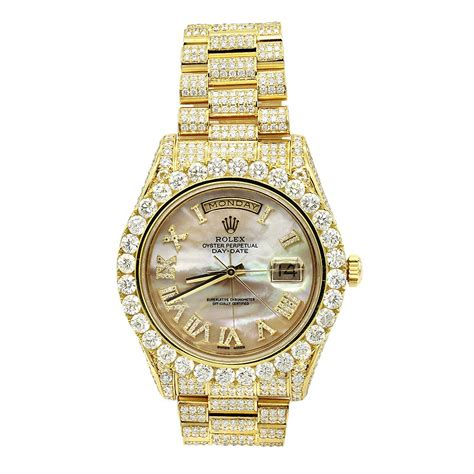 18k gold oyster perpetual iced out rolex for