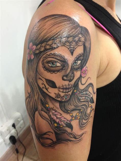 brilliant catrina latino tattoo on left shoulder for men