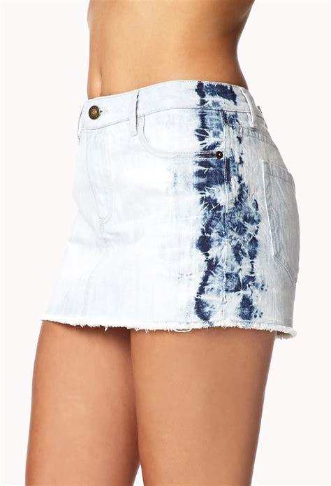 forever 21 bleached denim mini skirt in blue lyst