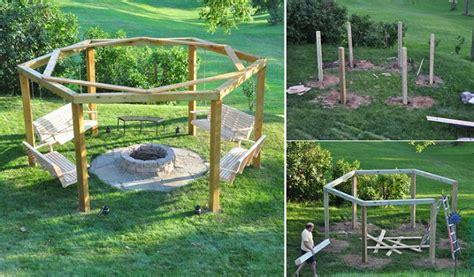 diy porch swing fire pit home design garden