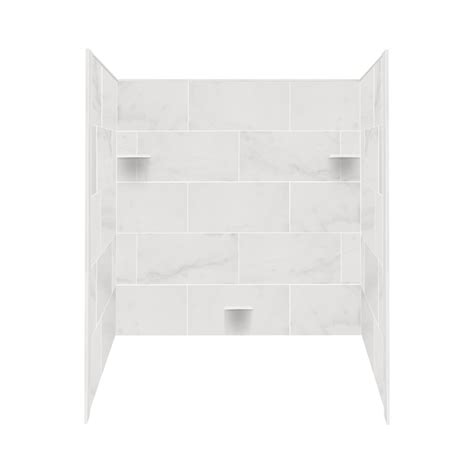 shop style selections white carrara solid surface bathtub