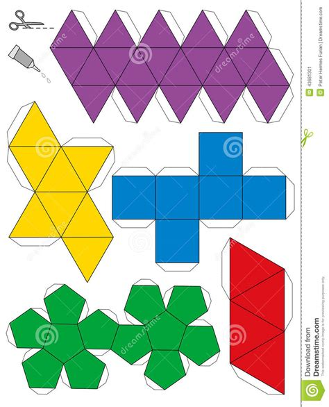 How To Make Solid Shapes With Paper - platonic solids paper model template stock vector