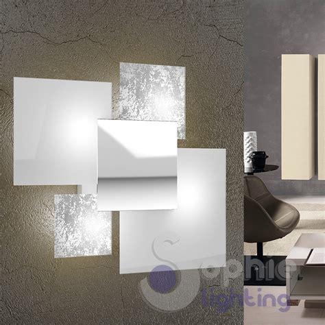 applique moderne design applique grande muro design moderno foglia argento bianco