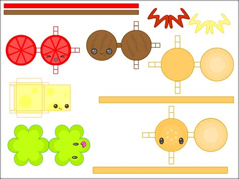 Food Papercraft Template - 8 best images of kawaii printable paper cat crafts