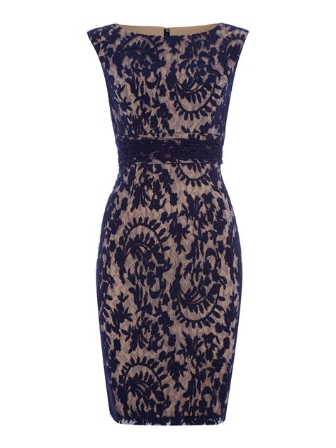 papell brocade lace shift dress in blue navy lyst