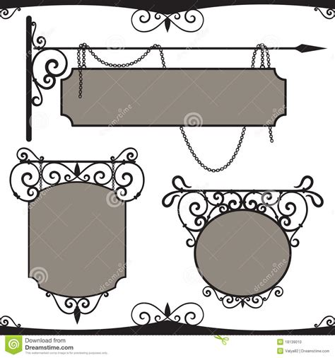 vintage wrought iron signs stock vector illustration of