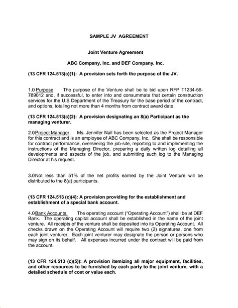 joint venture agreement template doc joint venture agreement anuvrat info