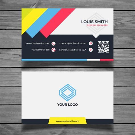 Colorful Business Card Templates Free by Colorful Flat Business Card Template Vector Free