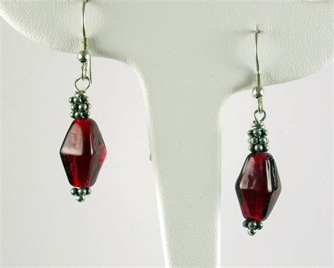 Handmade Glass Earrings - handmade glass bead dangle earrings fair trade earrings