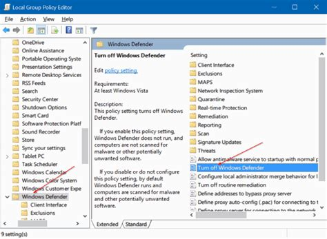 desktop themes disabled by gpo disable windows defender in windows 10 via registry or
