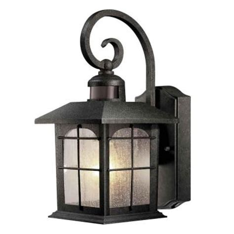 motion sensor outdoor lighting home depot hton bay 180 degree 1 light aged iron outdoor motion