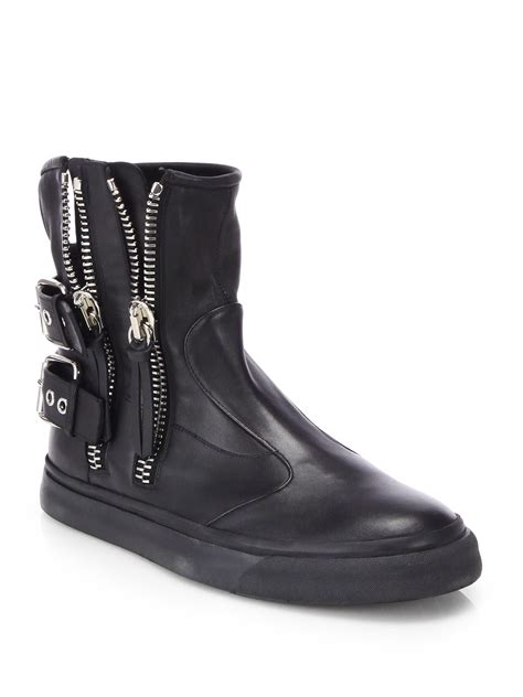 giuseppe boots giuseppe zanotti zip leather boots in black