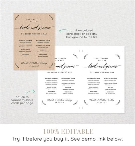 Call Anyone But The Bride Template Wedding Contact Contact Card Info Phone Insert 100 Call Anyone But The Free Template