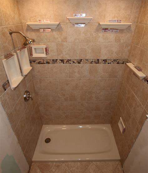 Tile Shower Shelf Ideas by Recessed Bathroom Tile Niches Traditional Bathtubs