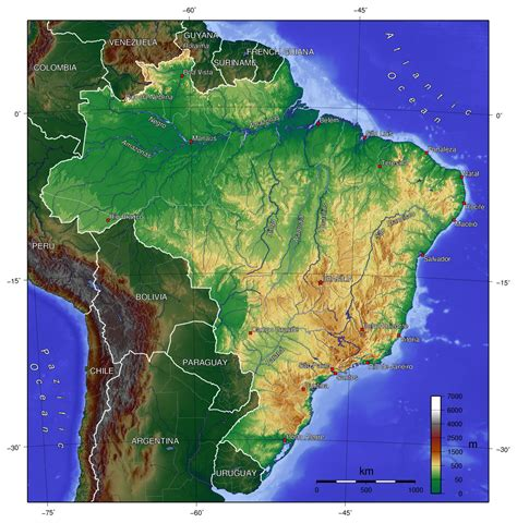 topographical map of south america detailed topographical map of brazil brazil detailed