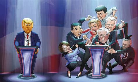 exclusive  cartoon president  art teases democrat smackdown animation magazine