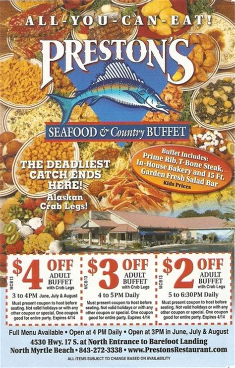 Coupons Deals Specials Save Money Prestons Restaurant Seafood Buffet Coupons