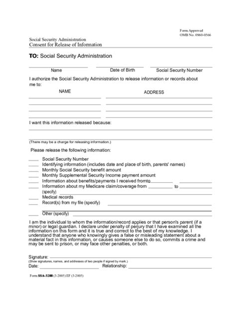 Fillable Social Security Administration Consent For