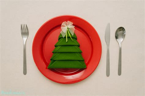 how to make christmas tree napkin fold all steps diy