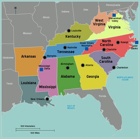 map of the southern usa south united states of america travel guide at wikivoyage