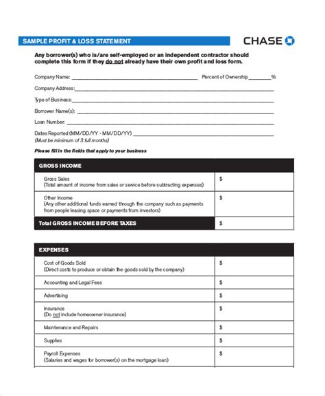 profit loss statement template 13 free pdf excel