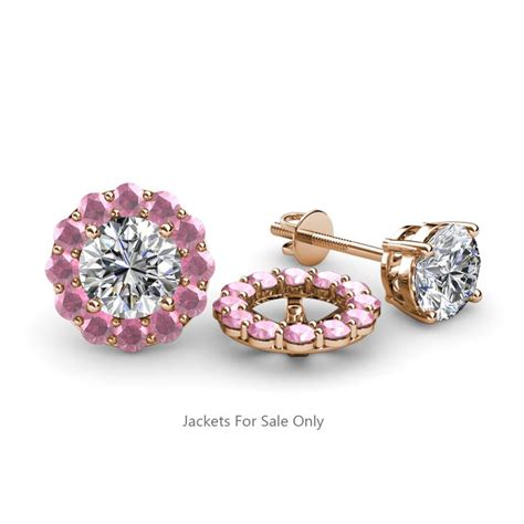 pink tourmaline halo jacket for stud earrings 0 60 ct tw