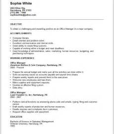 Resume Objective Exles Management by Administration Resume Exles And Tips
