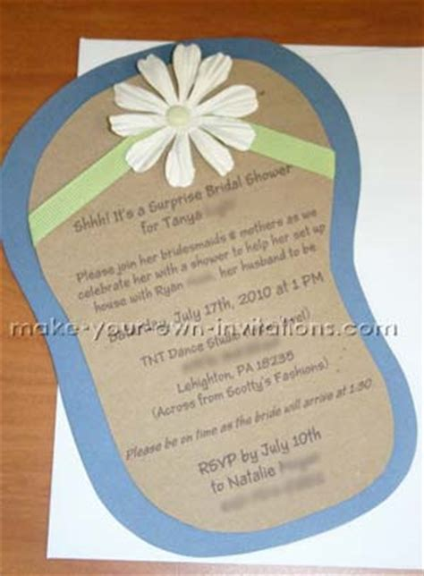 bridal shower invitations to make on your own flip flop invitations for bridal showers tutorial