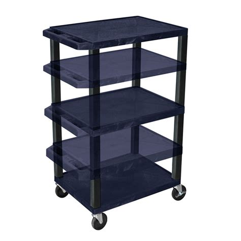 Multi Shelf Cart by Luxor Wt1642ze B Navy Blue 3 Shelf Multi Height Cart With