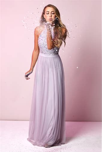 Chiffon Sequin Pouch By Bags To Die For by Sistaglam Selena Lilac Chiffon And Sequin Maxi Dress