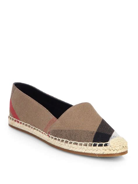 Burberry Shoes Flat burberry hodgeson check canvas espadrille flats in brown classic lyst
