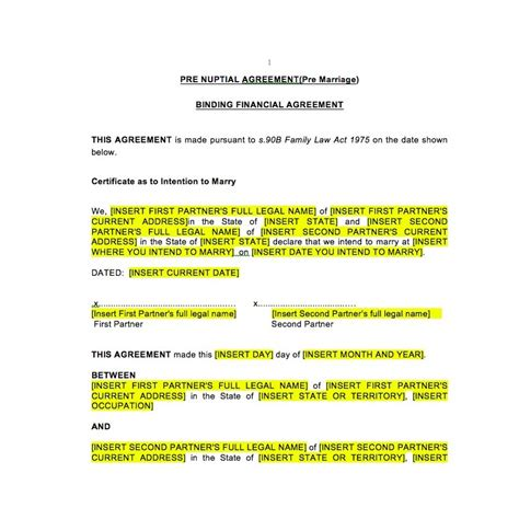 free prenuptial agreement template australia prenuptial agreement law4us agreement template