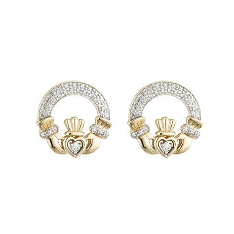 claddagh earrings 14k gold with diamonds claddagh stud