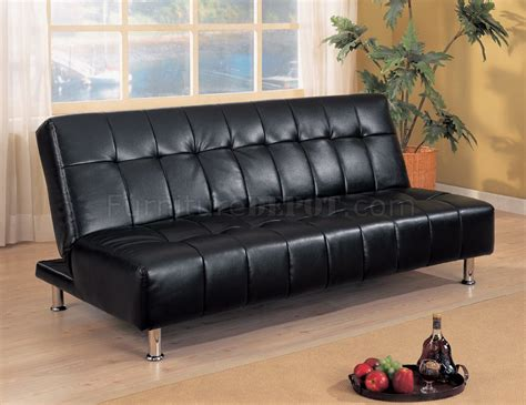 futon black black vinyl contemporary futon sofa bed w metal legs