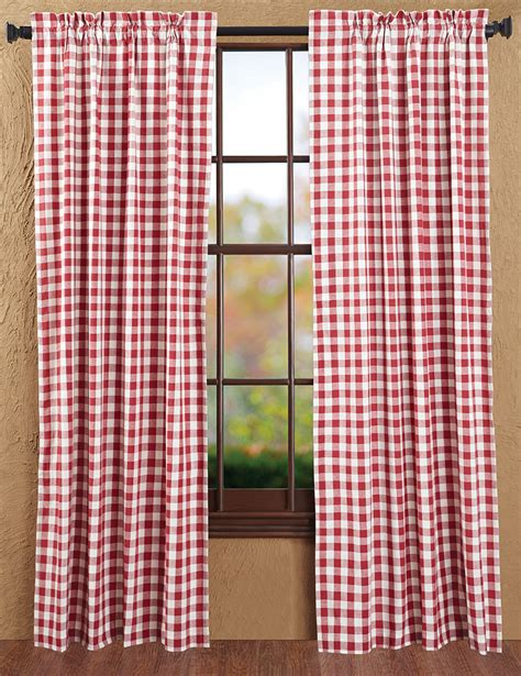 Buffalo check red curtain panels by nancy s nook for victorian heart the weed patch