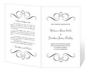 Program Templates Free by Wedding Program Template Printable Instant